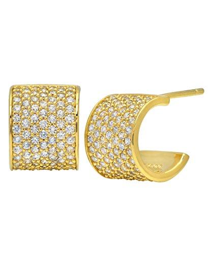 crislu Femme Boucles d'oreilles créoles en argent sterling 925serti oxyde de zirconium rond Transparent Gold Plated 925 Sterling Silver