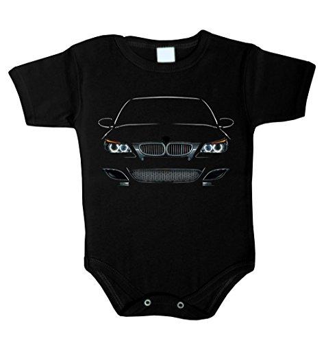Baby Body inspiriert von M5 E60 Power LED Fan Baby Body Babykleidung Strampler Unterwäsche (68 (3-6 M), SCHWARZ)