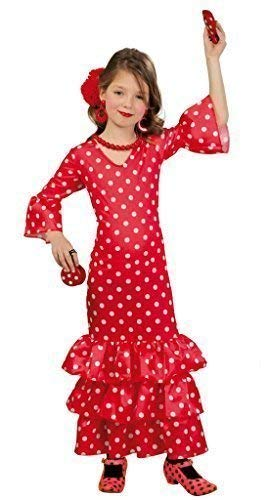 Fancy Me Mädchen Lang Rot Gepunktet Spanischer Flamenco Tänzer Kleid Kostüm Schuhe 3-12 Jahre - Rot, Rot, 5-6 - Spanischer Tänzer Kinder Kostüm