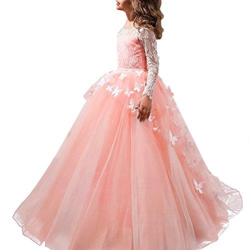 Festliches Mädchen Kleid Pinzessin Kostüm Lange Brautjungfern Kleider Hochzeit Party Festzug #11 Schmetterling und Weiß 10-11 Jahre