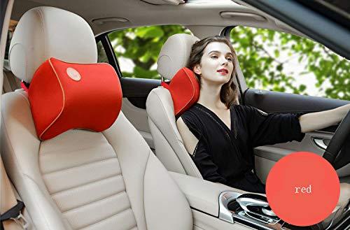 ZYYYOU Poggiatesta per Auto, Guanciale Memory Cotton, Collo per Osso Auto, Adatto per Seggiolino Auto Regolabile,Red