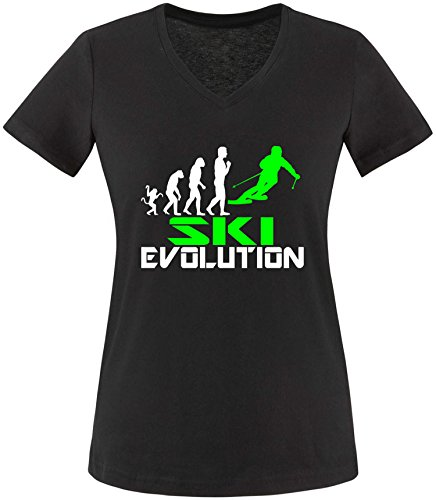 EZYshirt® Ski Evolution Damen V-Neck T-Shirt (Jacke 1960 S Damen)