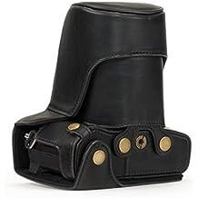 """MegaGear """"Ever Ready"""" funda de cuero de la cámara, bolsa, parte inferior de la versión de apertura - cubierta protectora para Olympus OM-D E-M5 Mark II 12-40mm Lente (Negro)"""