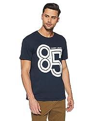 Tommy Hilfiger Mens Printed Regular Fit T-Shirt (P8ATK317_Black Iris_Small)