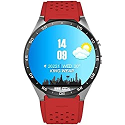 Tonsee KW88 Android 5.1 Quad Core 4GB Bluetooth 3G Smart Watch GPS WIFI For IOS Samsung, Red