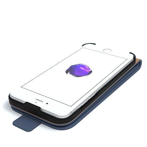 iPhone 8 Hülle / iPhone 7 Hülle - EAZY CASE Premium Flip Case Klapphülle für Apple iPhone 7 & iPhone 8 - Edle Schutzhülle aus Leder mit Magnetverschluss in Schwarz Dunkelblau