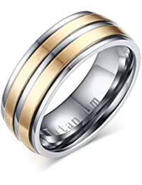 Mens Titanium Promise Engagement Wedding Band Ring,Middle 2 Lines Matte Finished,Gold and Silver