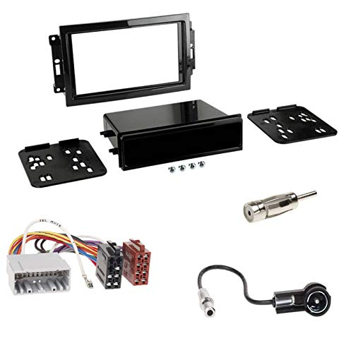 Einbauset: 1-DIN Blende Radioblende + ISO Radioadapter Adapter für Chrysler 300 C (LX) 2005-2007 Chrysler PT Cruiser (PT) Jeep Grand Cherokee (WH) Jeep Compass (PK) 04/2007-06/2009 Jeep Patriot (PK)