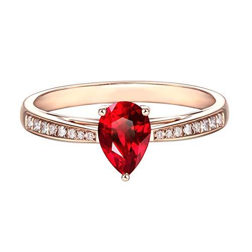 Blisfille Damen Ring 18K Gold Rot Rubin Teardrop 3 Prong Rose Gold Trauring 0.85 Karat Vvs1-Vvs2 Tropfenschliff 54 (17.2) - Amethyst Ringe Teardrop