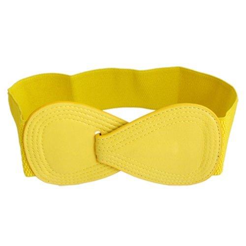 Gleader 8 foermige Kunstleder Schnalle elastische Guertel Gelb (Elastischen Cinch-gürtel Leder)