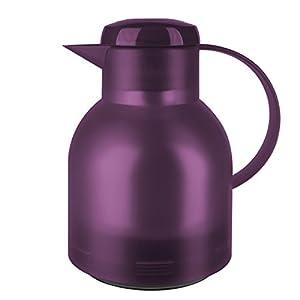 Emsa 505490 Isolierkanne, 1 Liter, Quick Press Verschluss, 100% dicht, Transluzent Aubergine, Samba