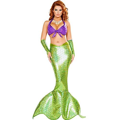 Lady Fancy Kleid Mermaid Cosplay Kostüm Brillante Grüne Pailletten Fischschwanz Outfit Sexy Meerjungfrau Fisch Skala Meerjungfrau Kleid,M