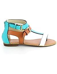 Sandales plates color-block
