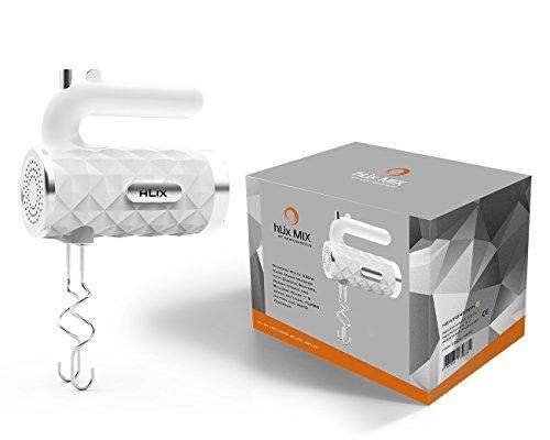 hLix MIX - Blanco diamante 300W Batidora de mano con varillas cromadas, ganchos para masa y varillas de globo + 5 ajustes de velocidad, botón TURBO y AUTO