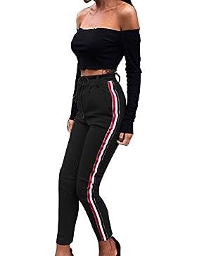 ORANDESIGNE Donna Casual Pantaloni Lungo Sportivi Leggings di Yoga Running Palestra Laterali Striscia Pantaloni