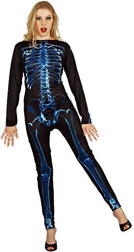 (U LOOK UGLY TODAY Halloween Kostüm Ganzkörperanzug Overall Kostüm X-Ray Skelett Jumpsuit für Damen, Weiches und Atmungsaktives Material, tragbar, Pflegeleicht)