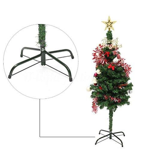Christbaumständer,BBTXS Weihnachtsbaumständer Grün Metall Halter Base Gusseisen Stand 4 Füße Dekoration
