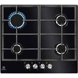 Electrolux PVN642OV Integrado Encimera de gas Negro – Placa (Integrado, Encimera de gas, Vidrio, Negro, hierro fundido, 1000 W)