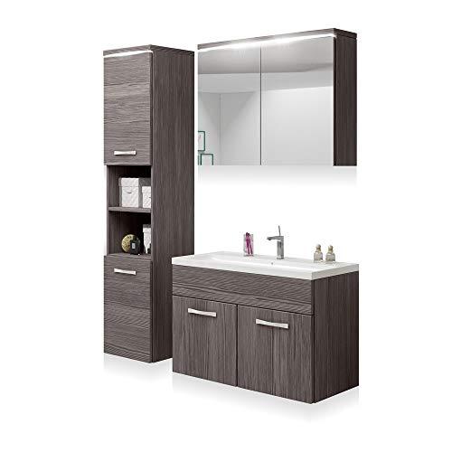 Gloria u2013 Badmöbelset/Badezimmermöbel Hängend mit LED 3-teilig mit Hochschrank Spiegelschrank Waschbeckenunterschrank und Waschbecken (Holzoptik Bodega in Matt)