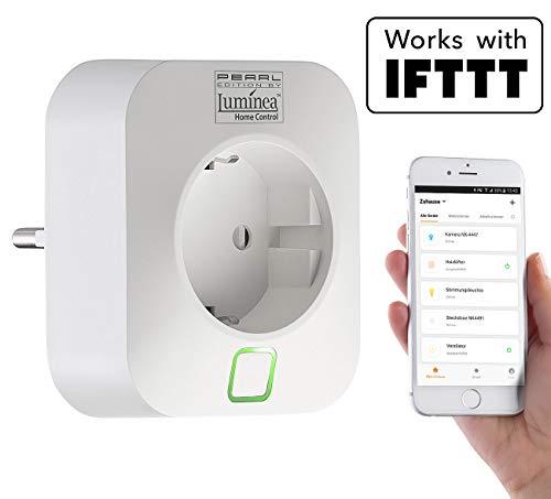 Luminea Home Control WLAN Schalter: WLAN-Steckdose, App, komp. mit Amazon Alexa & Google Assistant, 16 A (Strommessgerät)