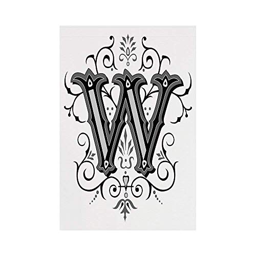 JKOVE Home Garden Letter W Capitalized Letter W with Symmetrical Ornaments Abstract Artwork Lines Dots Black Grey Whiteor Deko Süße Garten Flagge Rasta Dot