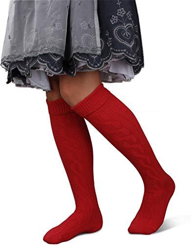 GearUp Lange und Kurze Trachtensocken für Damen | Trachtenstrümpfe fürs Oktoberfest | Kniebundhosenstrümpfe passend zu Dirndl oder Lederhose Farbe Rot lang Größe 35/38