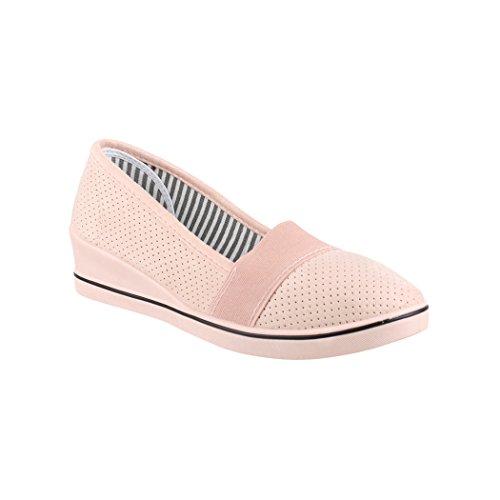 Elara Damen Pumps | Keilabsatz Wedges | Sportliche Slipper Ballerina | Chunkyrayan | 125-Y Pink-39