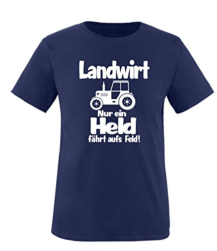 Jugend-navy S/s T-shirt (Luckja Landwirt nur ein Held fährt aufs Feld Herren T-Shirt Navy-Weiss Grösse S)