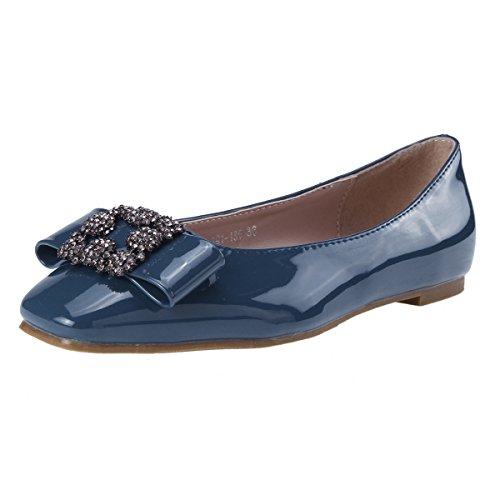 Damara Ballerines Pour Femmes Casual Nœud Papillon Confortable Eté Bleu