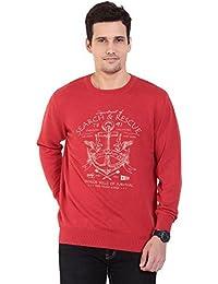 TAB91 Men's Cotton Rich Red Round Neck Pullover