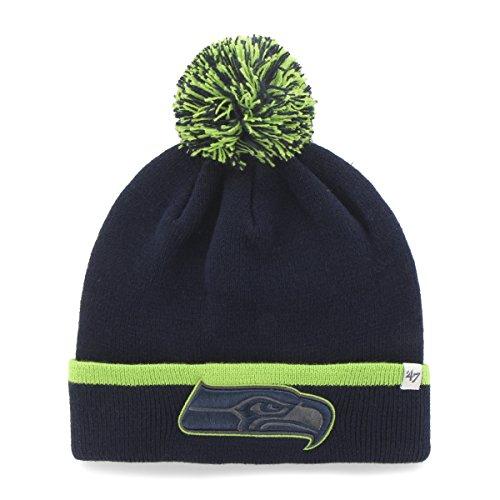 NFL '47Baraka Cuff Knit Hat mit Pom, unisex, Light Navy (Stripe Pom Top)