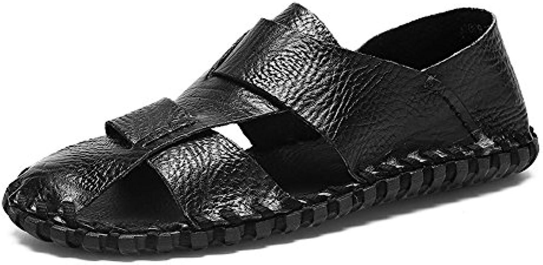 Herren sandalen  Männer Casual Echtem Leder Strand Hausschuhe Handarbeit Naht rutschfeste Weiche Flache Closedsandalen Hausschuhe Handarbeit rutschfeste Sandalen