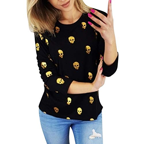 Langarmshirt Halloween Damen,Frauen Langarm Schädel Print Gold Stempel Bluse Top Bottom Shirt Elegant Katzen Pullover Tops