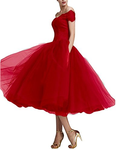 Weills Damen Teelänge Abendkleider Trägerlos Ballkleider Brautjungfernkleider für Hochzeit