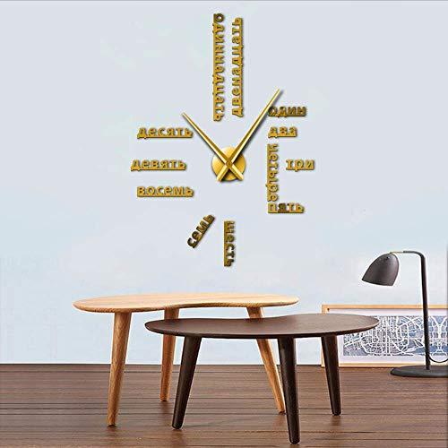 ganjue 1 Pièce Numéros Russes DIY Géant Horloge Murale Langue Étrangère 3D Horloge Mur Autocollant Mural Design Moderne Grande Maison Horloge Or 47 Pouces