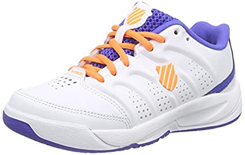 K-Swiss Performance ULTRASCENDOR OMNI JR, Jungen Tennisschuhe, Weiß (WHITE/ELECTRICBLUE/ORANGE), 32 EU (13 Kinder