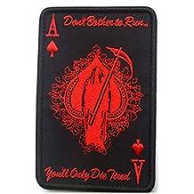 Heaviesk Carta de Muerte Parche Rectangular Bordado Espada A Poker Parche táctico Moral Militar TAD Brazalete