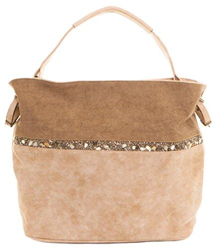 CAPRIUM Hobo Bag, Handtasche mit Quer verlaufendem Steine, Schultertasche, Damen 000F5929 (Taupe)