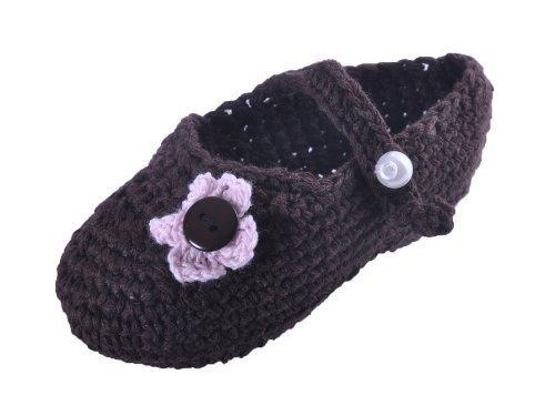 Style Nuvo Schön Hand Gestricken Baby Mädchen Schuhe Mit Feinen Blumendekoration Schokoladenbraun, Rosa Blume