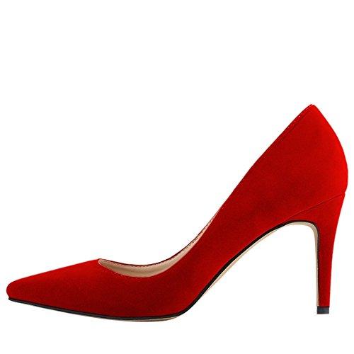 OCHENTA Mujer clasico Zapatos de tacon Resbalon en vestido de las bombas con los colores multi Rojo 39