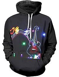 Ywfzzxs Sudadera con Capucha Unisex 3D Guitarra Electrica Colorida con Estampado 3D Manga Larga Gran Bolsillo