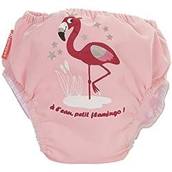 Piwapee - Traje de baño con pañal para nadar eclipsable y barreras anti fuga patentadas SWIM+ - Flamingo Rosa