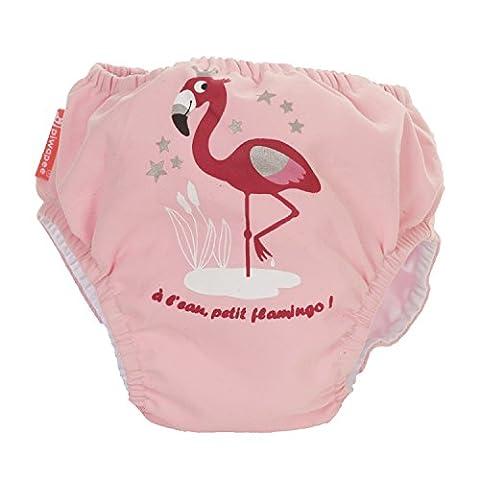 Piwapee - Maillot avec couche de bain clipsable Swim + anti fuite Flamingo Rose (8-11 KG ( 6-12M))