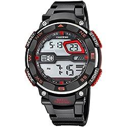 Calypso Herren Digitale Armbanduhr mit LCD Dial Digital Display und schwarz Kunststoff Gurt k5672/6
