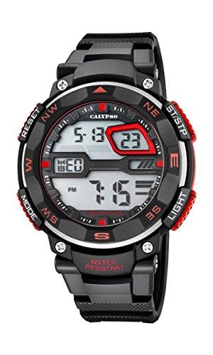 Calypso Hombre Reloj digital con pantalla LCD Pantalla Digital Dial y correa de plástico en color negro k5672/6