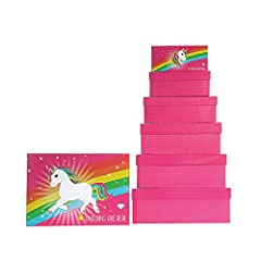 Idea Regalo - Cepewa Unicorno Set di scatole, Pink, Quadrangolare
