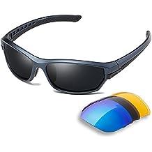 Duco Lunettes de soleil polarisées Homme Sport Ski Conduite Golf Course Cyclisme Monture ultra légère en TR90 avec 3 paires de verres interchangeables 6216 Pohjj91