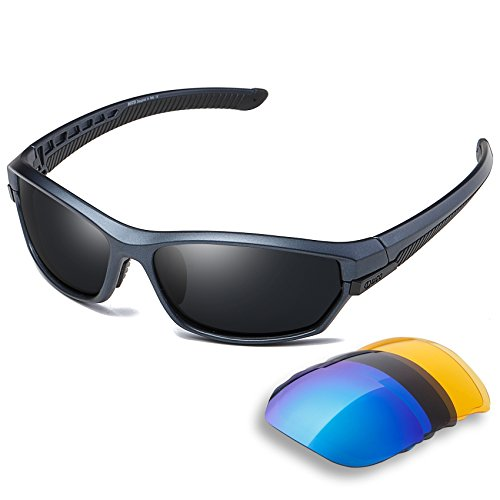DUCO Polarisiert Sports Herren Sonnenbrillen für Ski Driving Golf Laufen Radfahren Tr90 Superlight Rahmen mit 3 Wechselgläsern 6216 (Blauer Rahmen)