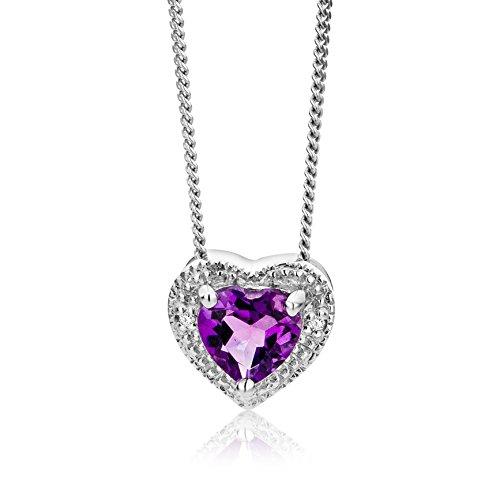 Miore Damen-Kette mit Anhänger 9 Karat Weißgold Amethyst Herz Brillant 45cm MT033N - Ring, Geburtsstein Halskette, Charms