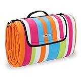 Relaxdays Picknickdecke XXL, 200x200 cm, Fleece Stranddecke, wärmeisoliert, wasserdicht, mit Tragegriff, bunt gestreift